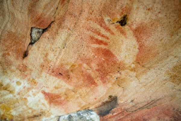 Red hand stencils at Spring Gully (Cockle Creek) Shelter