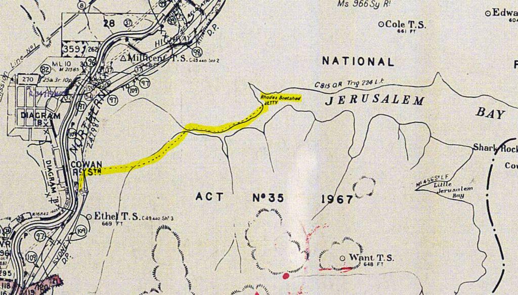 Map JerusalamBay boatshed Taffys Rock