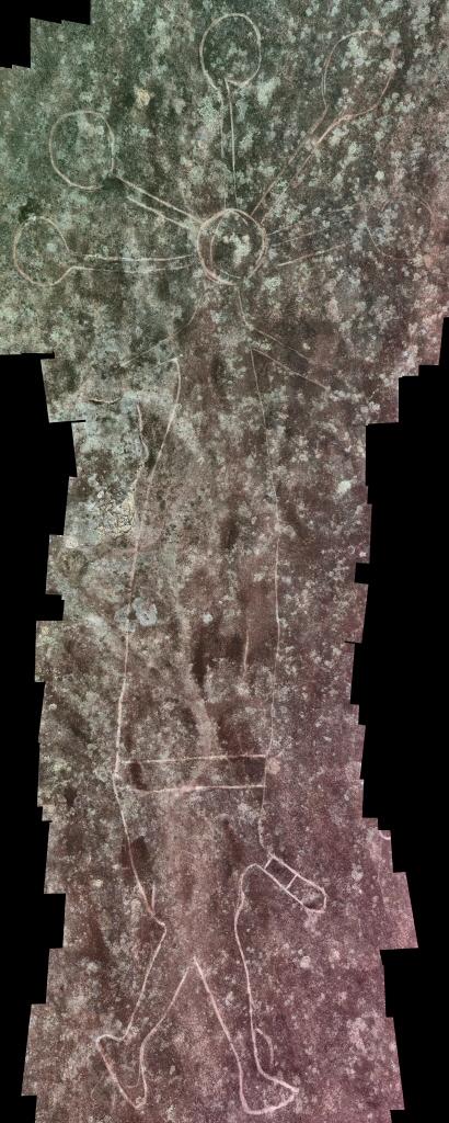 large figure with headress Mooney Mooney Aboriginal Area