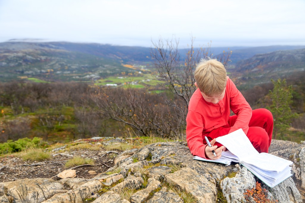 Filling in the logbook on Lille Raipas summit
