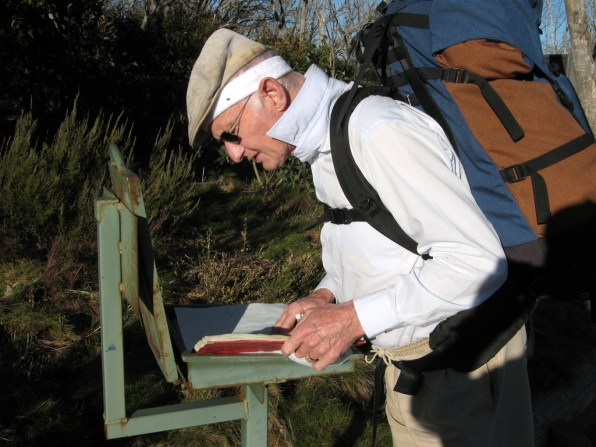 Signing the logbook at the trackhead