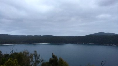 Looking out over Fortescue Bay at the beginning of the trail