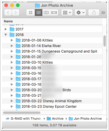 Image of my archive folder structure.