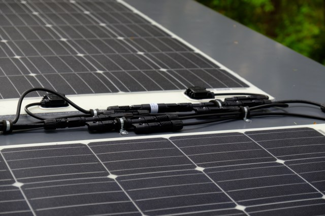 Solar wiring on the roof of the Mantis