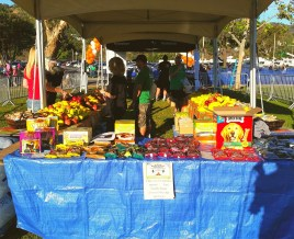 Snack table for human and canine race participants
