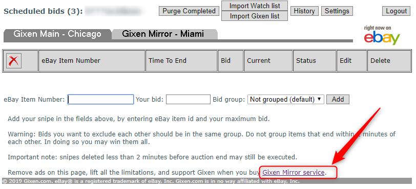 【Gixen Mirror service】という表示があるのでそこをクリック