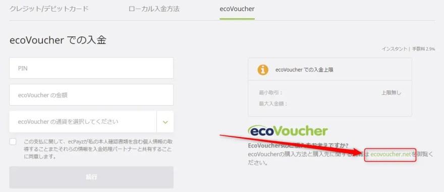 ecoVoucher【間接的にクレジットカードで入金する方法】