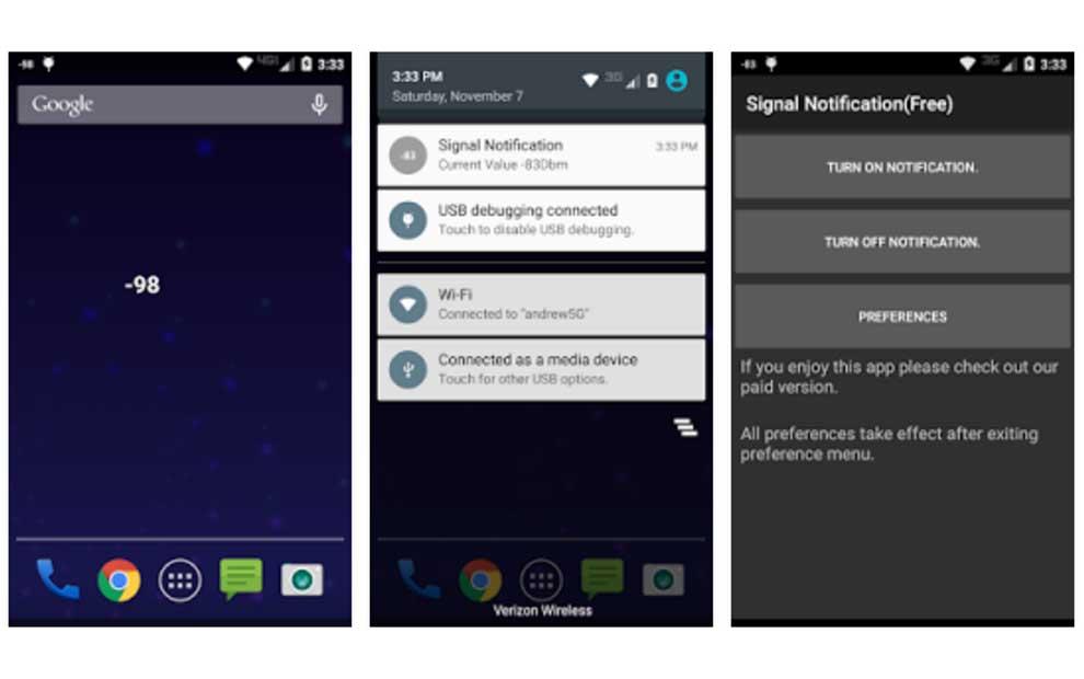 Android bildirim çubuğunda ağ sinyali güç değerini görüntüleme