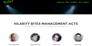 Hilarity Bites Management's website