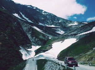 car ride up through the Swiss Alps