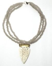triple taupe crystal & carved bone pendant