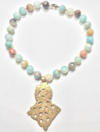 hand knotted amazonite & carved African brass choker