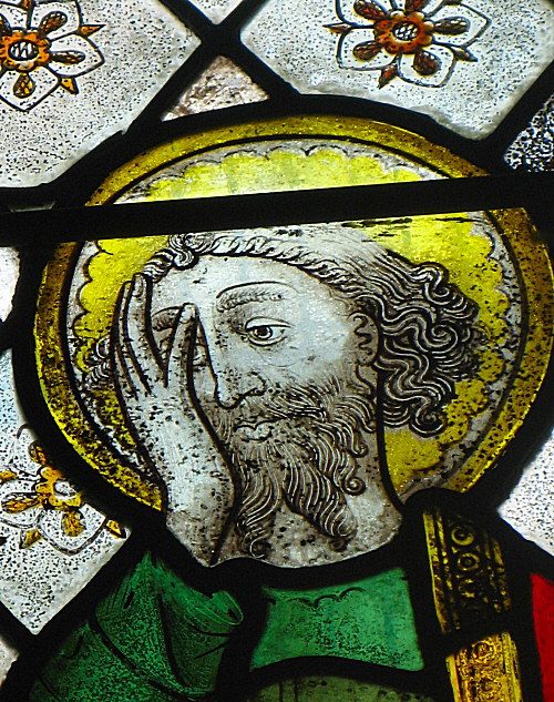 St Paul in stained glass at Doddiscombsleigh church