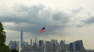 View of the skyline from Ellis Island