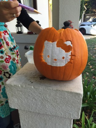 Acrylic paint works great if you wash and dry the pumpkin first
