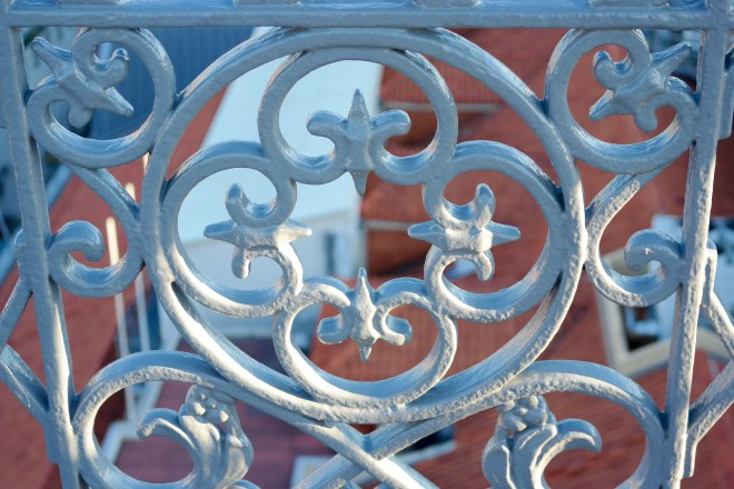 Close up of the cast iron filigree on the Santa Justa Lift Platform