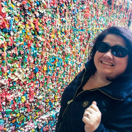 Auntie putting her gum on the wall