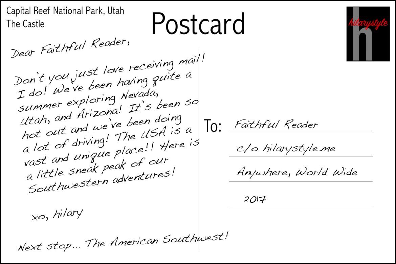 Capital Reef National Park Postcard Utah
