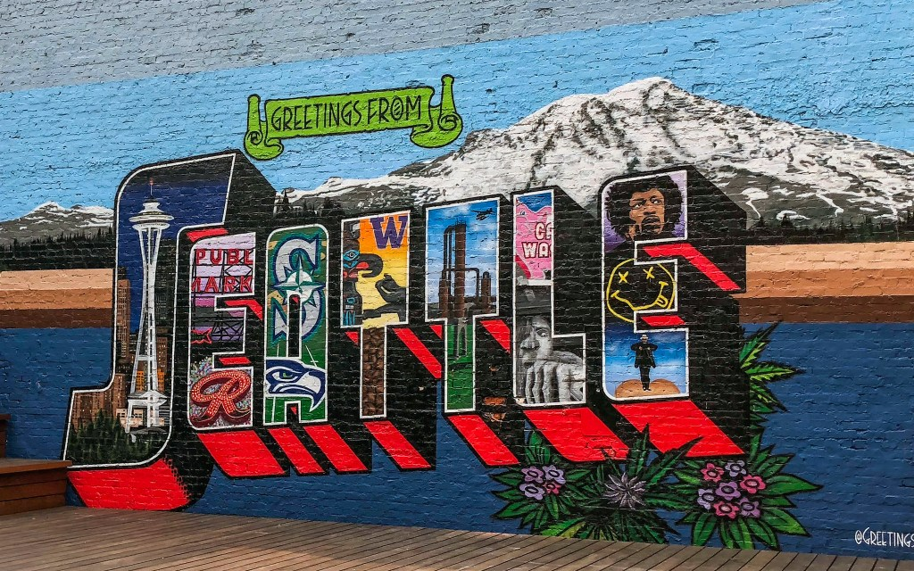 Seattle Washington Postcard Mural #belltown #seattle #streetart