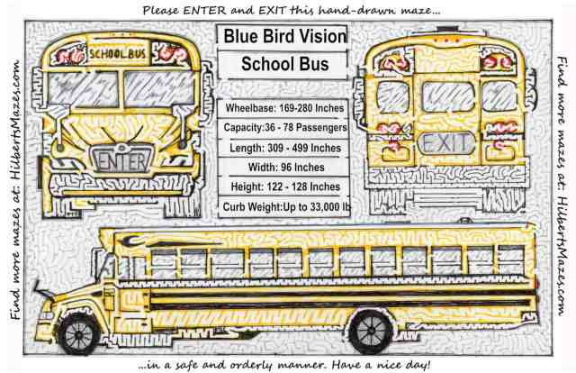 Free Printable Hand Drawn School Bus Maze. Easily downloadable and printable PDF format. Great Mazes for both kids & adults very challenging but fun.