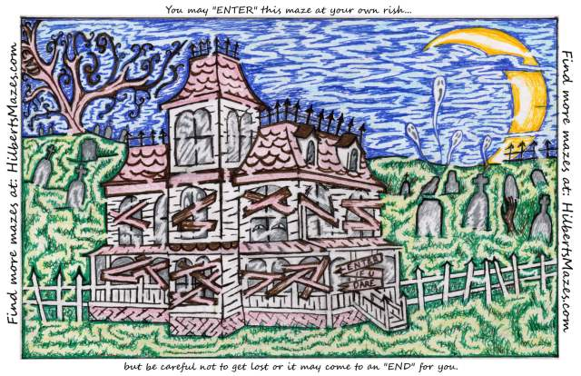 Free Printable Hand Drawn Haunted House Maze. Easily downloadable and printable PDF format. Great Mazes for both kids & adults very challenging but fun.