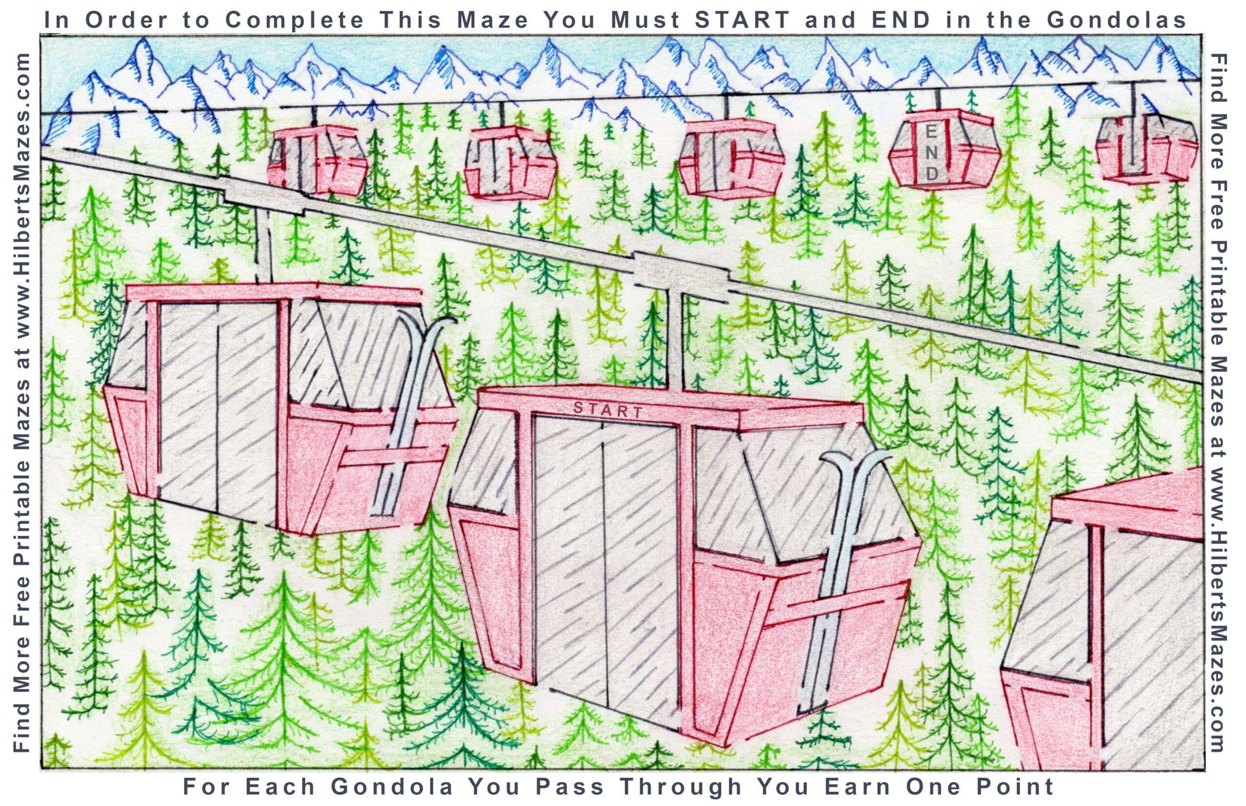 Hand Drawn Ski Gondola Maze Free Printable