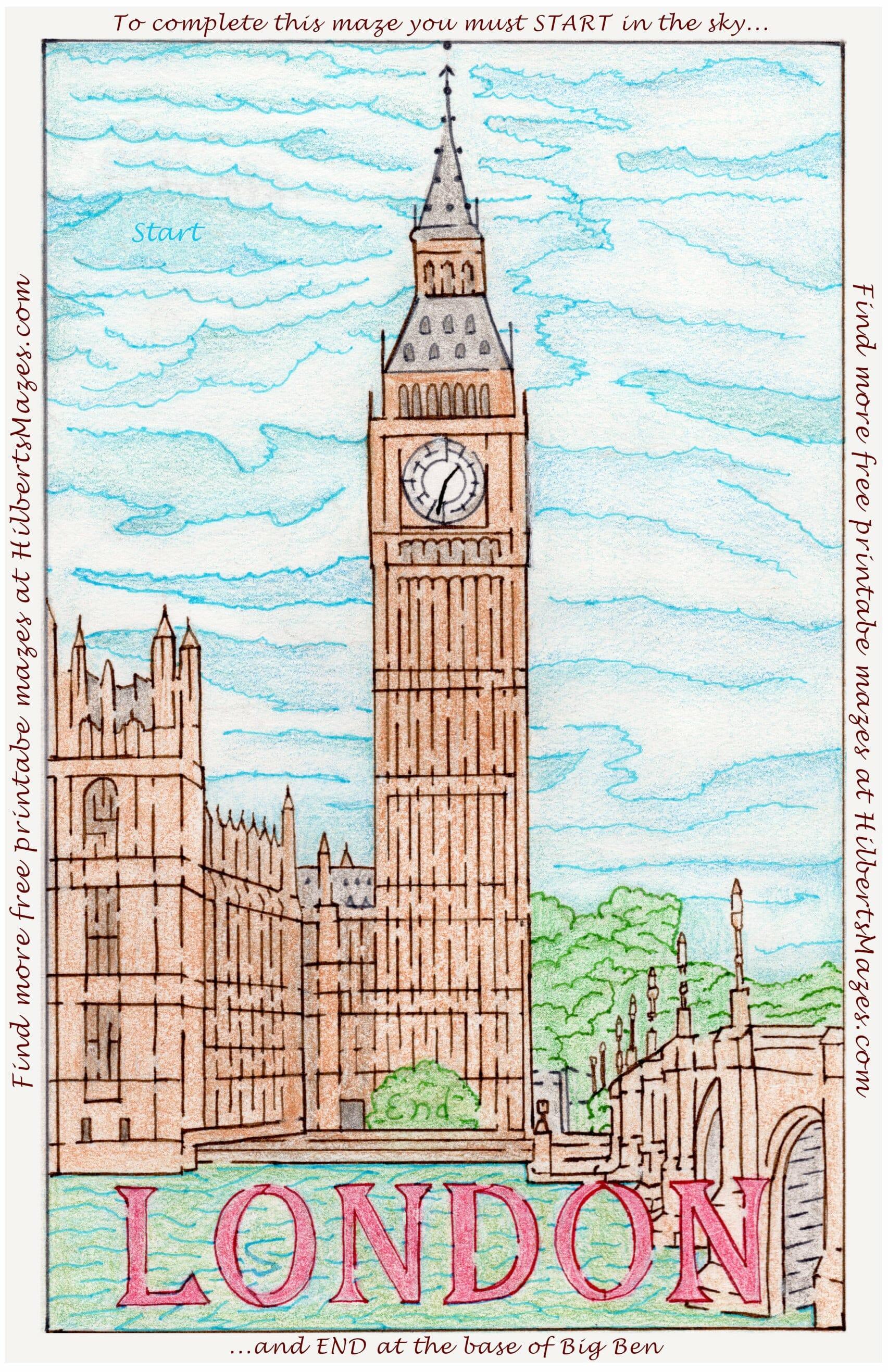 Hand Drawn London Big Ben Maze