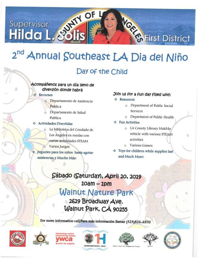 2nd Annual Southeast LA Dia del Niño – Supervisor Hilda L Solis