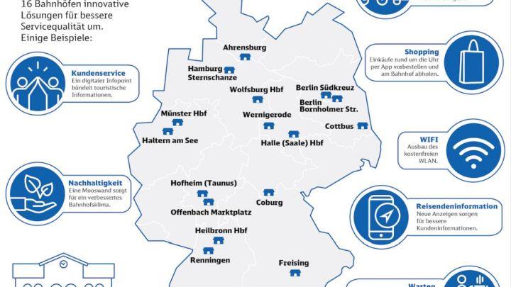 DB startet an 16 Zukunftsbahnhöfen neue Services