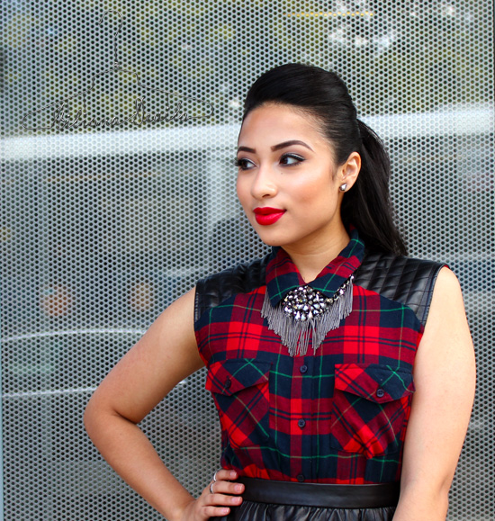 Plaid + Leather Look Hiliana Devila