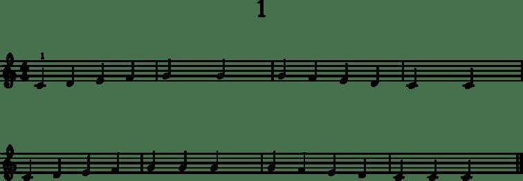 Alkeistason pianonuotteja: 1