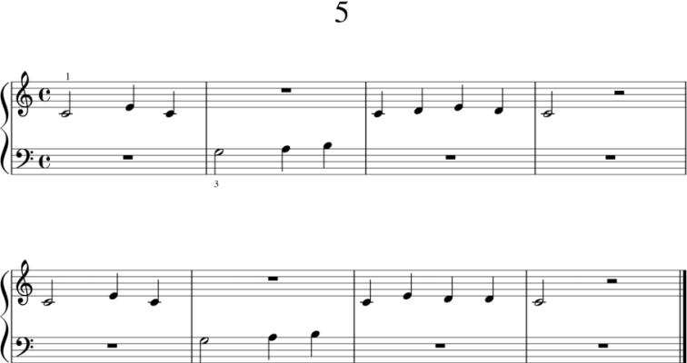 Helppoja pianonuotteja: 5
