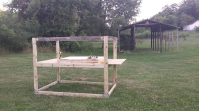 The base frame of the chicken coop