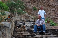 Brian and Justin among the monkeys at Galta