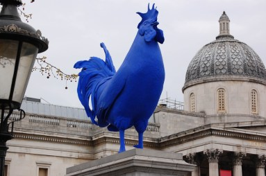 "Katharina Fritsch's ""Hahn/Cock"", an ultramarine cockerel meant to symbolize male-dominated Britain. Trafalgar Square"