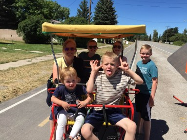 Family of 7 on one bike (limo surrey from KOA)