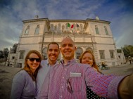 The four of us in front of the Borghese Gallery in Rome, Italy