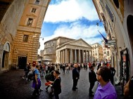 GoPro shot of the Pantheon facade - Rome, Italy
