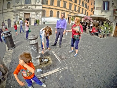 One of many running drinking fountains in Rome