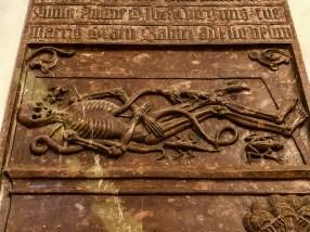 Skeleton relief in Frauenkirche, Munich, Germany
