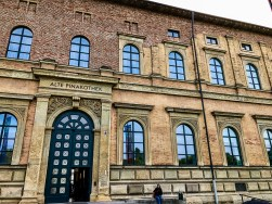 Alte Pinakothek musem in Munich - red brick replaces parts that were bombed in WWII