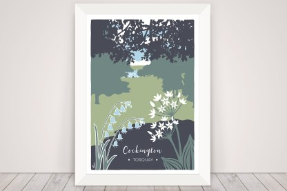 Digital illustration of Cockington Country Park. View of manor house with bluebells and wild garlic