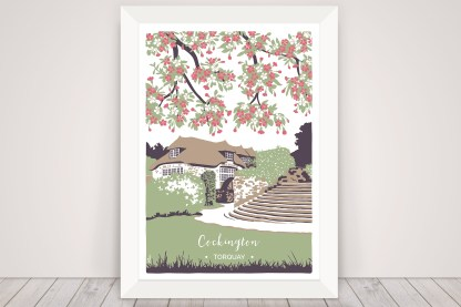 Digital illustration of Cockington Mill in Torquay. Captured in spring with pink blossom