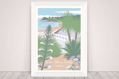 Digital illustration of Torre Abbey Sands beach in Torquay, Devon. Coastal print with palm tree and flowers
