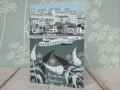 Greetings card featuring Brixham harbour in Devon