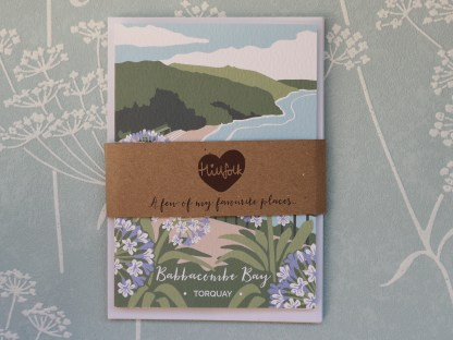 pack of 4 A6 greetings cards, featuring Babbacombe Bay in Torquay, Devon