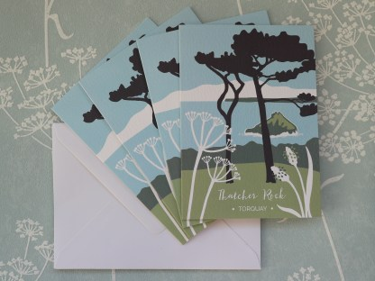 pack of 4 A6 greetings card, featuring Thatcher Rock in Torquay, Devon