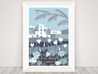 Digital illustration of Torre Abbey in Torquay, Devon. Winter scene with cyclamen and fir tree in blues and greys.