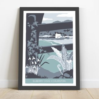 framed illustration of Elberry Cove in Paignton, Devon by artist Beth Hill