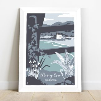 Digital illustration of Elberry Cove in Torbay, Devon. Winter scene with snowdrops and ferns in blues and greens.